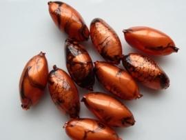 00845- 10 x gemarmerde kunststof kralen ovaal 16x8.5mm roodkoper AANBIEDING