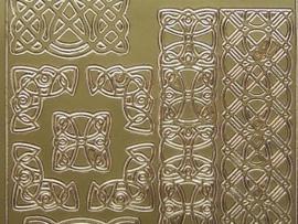st 671- diverse brede randjes met hoekjes en ornamenten goud 10x20cm