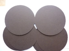 33- 10 x ronde dubbele kaarten 13.5cm donkerbruin