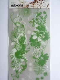 5063.B- Basic grey rub-ons groene bloemen 11x20cm OPRUIMING