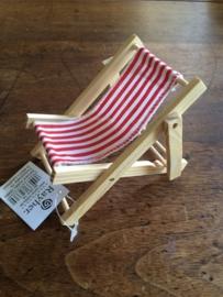RA86-003-18- decoratie mini strandstoel rood/wit