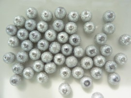 2270- 50 x glasparels `frozen` 8mm grijs