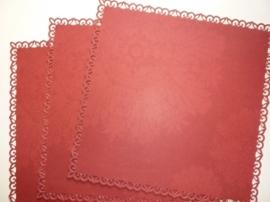 004002- 3 x scrapbook stansvellen 30.5x30.5cm donker rood decor OPRUIMING
