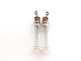 CE453101/2304- 2 stuks glazen flesjes hangers 12x40mm