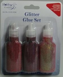CE870403/9206- 3 flesjes glitterlijm á 25ml rood assortiment