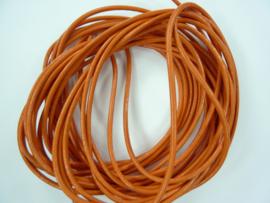 5 meter echt leren veter oranje van 2mm dik - AA+ kwaliteit - SUPERLAGE PRIJS!