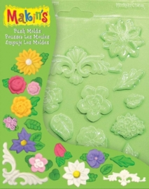 CE117918/9005- Makin`s clay push molds bloemen 17.5x14cm