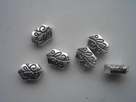 30104HT- 6 x zwaar metalen kralen 11.5x8x4.5mm