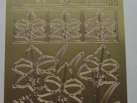 st109- sticker met grote bloemen goud 10x20cm