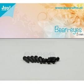 Joy6300/0611- 10 stuks bean ogen 5mm zwart