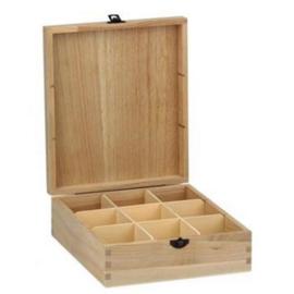 CE811720/0109- houten theekist 9-vaks 20.5x23.5x7.5cm paulownia