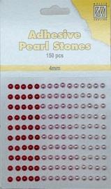 CE142010/2401- 150 stuks zelfklevende halfronde parels van 4mm rood/roze