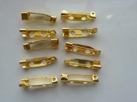 18mm - 10 stuks brochespeldjes goudkleur