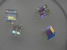 109316/0400- 4 x swarovski cube 6x6mm crystal AB