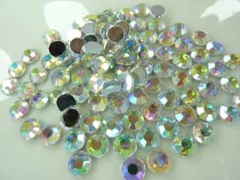 ca. 100 stuks strass stenen van 8mm kunststof zilver AB - SUPERLAGE PRIJS!