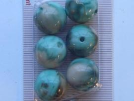 117206/0438- 6 x hoogglans kralen 18mm jade/bruin gemarmerd