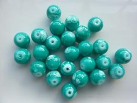 3792- 25 stuks glaskralen van 10mm azuurblauw