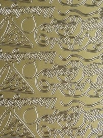 st996- stickervel met uitnodigings stickers: kom je ook op mijn feestje? 10x23cm goud