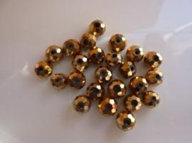 1314- 20 stuks electroplated glaskralen 8x6mm hoogglans goud/brons - SUPERLAGE PRIJS!