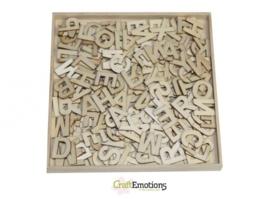 CE811500/0298- XL box met 250 stuks houten alfabet letters 16.8x16.8cm