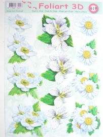 kn/457- A4 knipvel AANBIEDING foli art no.619 bloemen