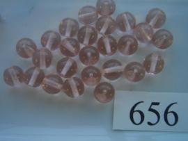 20 stuks 656 Ronde glaskraal 8mm licht roze