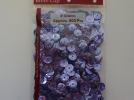 CE420001/1235- 8 gram pailletten 6mm facon glitter lila/paars AB - ca.800 stuks