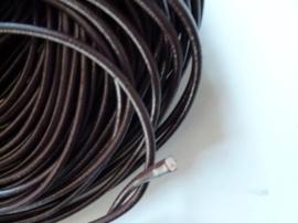 1 meter rundleren veter van 4mm dik donker bruin - super A-kwaliteit, soepel en goed geverfd