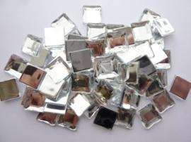 ca. 50 stuks strass stenen vierkant kunststof 12x12mm zilver - SUPERLAGE PRIJS!