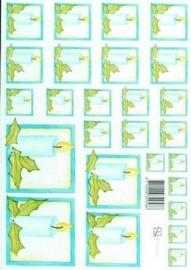 kn/1606- A4 knipvel Marjoleine blauwe kaarsjes -117141/1146