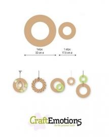 CE812301/0012- Craft Emotions MDF ringen - 2 stuks van 17.5-32cm