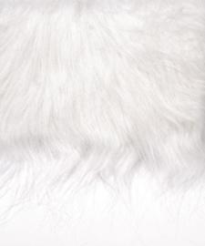 8410 003- lap van 14x20cm pluche / imitatie bont langharig wit