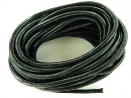 5 meter echt leren veter zwart van - 3.5 mm. dik - AA kwaliteit - SUPERLAGE PRIJS!