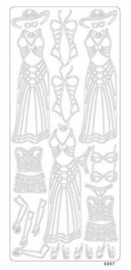 st797- stickervel met dameskleding goud 10x23cm  -  121001/0417