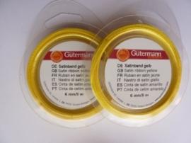 006302/0105- 5 meter satijnlint van 6mm breed op een rol geel