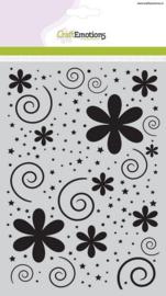 CE185070/1106- Craft Emotions mask stencil A5 bloemen met stip en ster