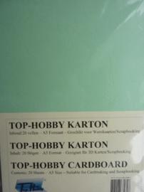 27- 20 vellen kaartkarton A5 formaat voor dubbele kaarten ca.225grams licht groen