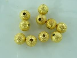 CH.225.G- 10 stuks metalen stardust kralen 7mm goud