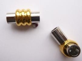 CH.056.2- magneetsluiting van 19x10mm voor bv. 5 mm. leren veters zilver/goud  -SUPERLAGE PRIJS!