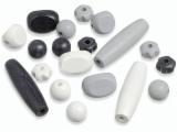 6023 365- 20 stuks houten kralen zwart/grijs/wit mix