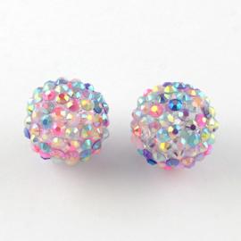 3975- 10 stuks strassballen van 12mm pastel regenboog AB