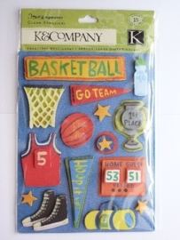 "5595- K&Co grand adh. chipboard 3D stickers ""basketball"" 12x16cm"