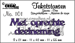 CE115634/3201- Crealies tekststans NO.101 oprechte deelneming 91x21mm