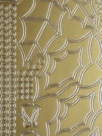 st961- stickervel met hulstblaadjes met randjes 10x23cm goud
