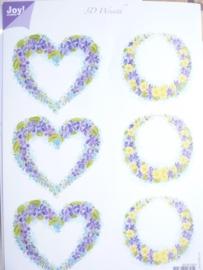 kn/841- A4 3D knipvel Joy crafts `bloemen hart/krans`