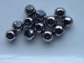 665- 12 x glaskralen met venstertjes 8mm zwart
