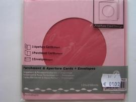0000102- 3 x vierkanten kaarten met enveloppen ronde passepartout