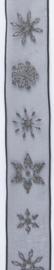CE544344/2585- 10 meter lint met zwarte ijskristallen 25mm breed