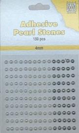 CE142010/2407- 150 stuks zelfklevende halfronde parels van 4mm wit/ivoor tinten