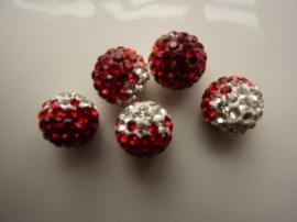 2340.410- strassbal van 12mm rood/zilver